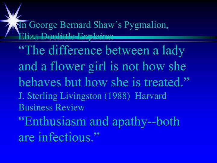 In George Bernard Shaw's Pygmalion,