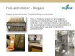 fou aktiviteter biogass