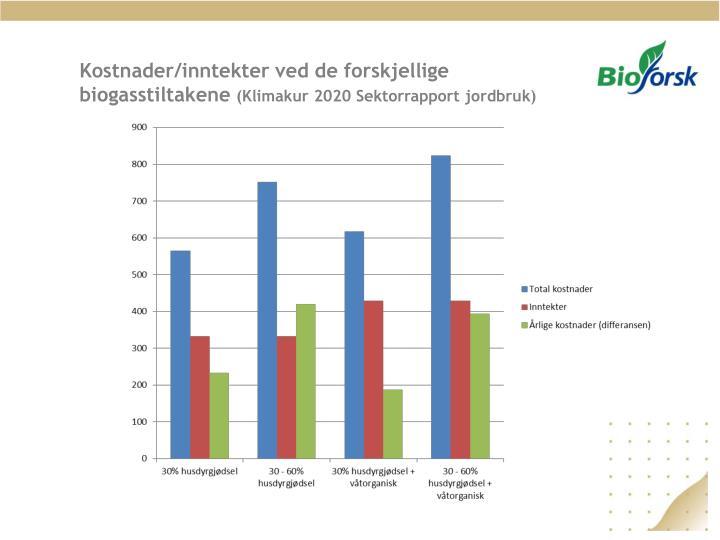 Kostnader/inntekter ved de forskjellige biogasstiltakene