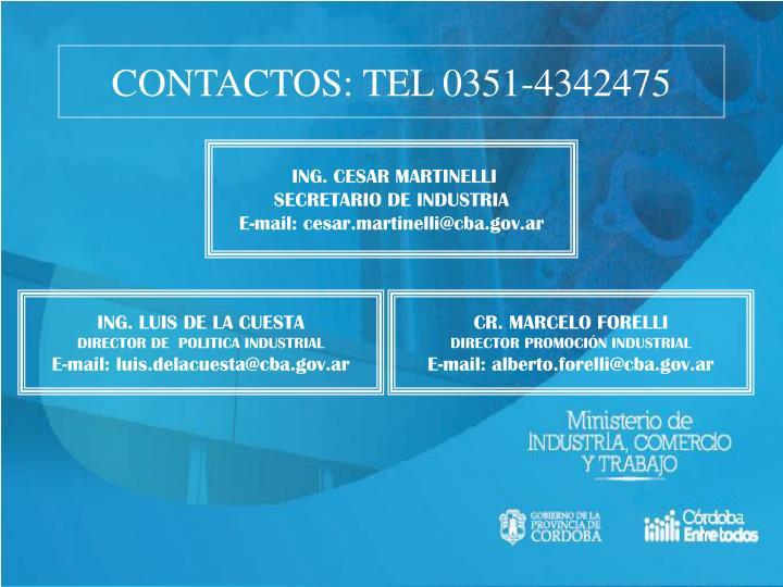 CONTACTOS: TEL 0351-4342475