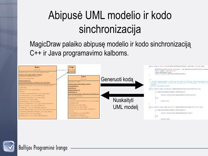 Abipusė UML modelio ir kodo sinchronizacija