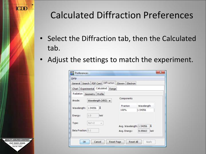 Calculated Diffraction Preferences