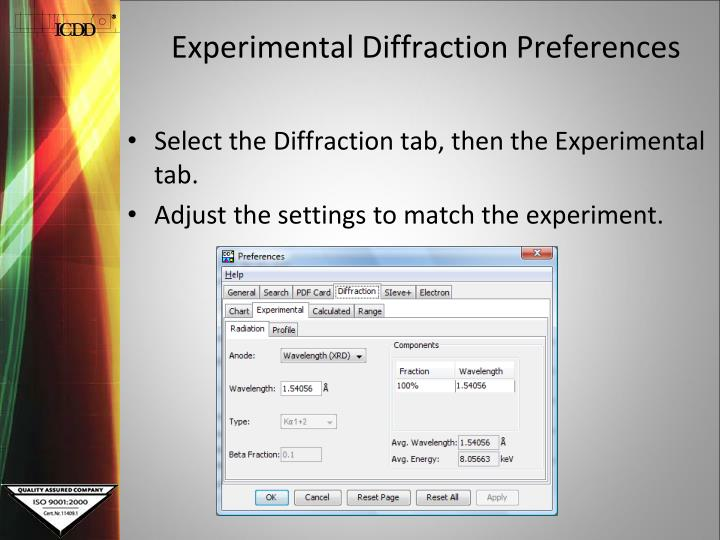 Experimental Diffraction Preferences