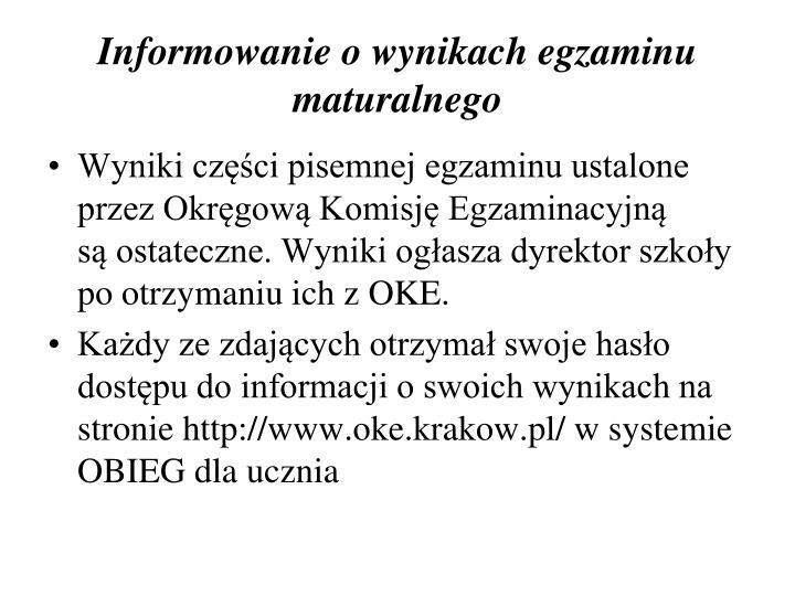 Informowanie o wynikach egzaminu maturalnego