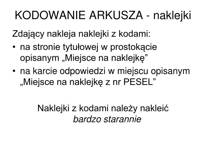 KODOWANIE ARKUSZA - naklejki