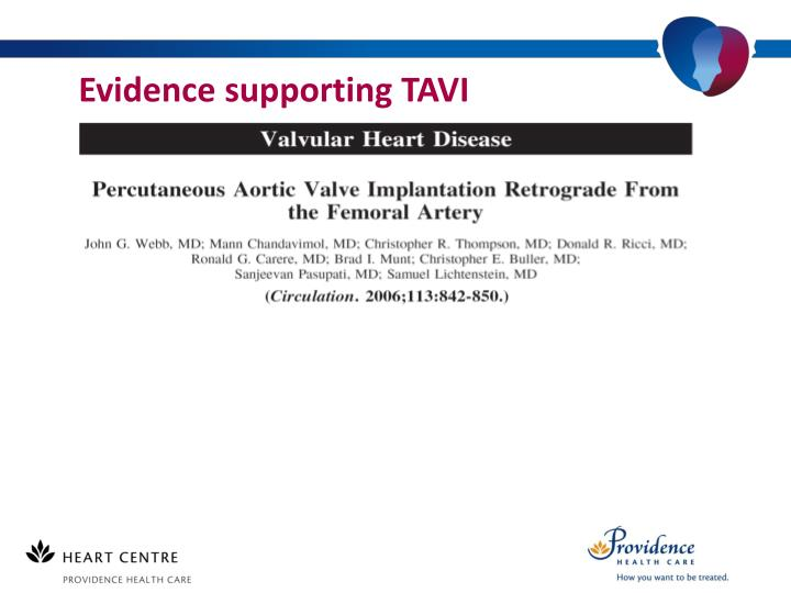 Evidence supporting TAVI