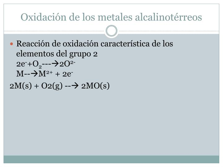Oxidación de los metales alcalinotérreos