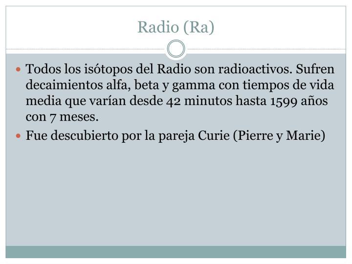 Radio (Ra)