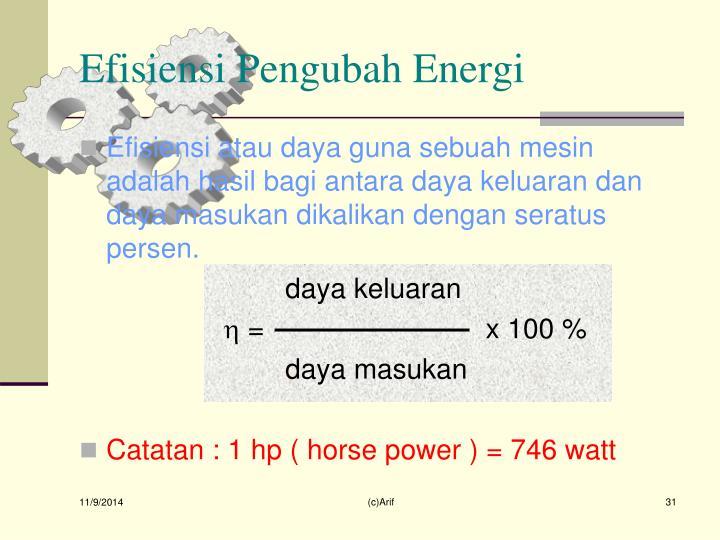 Efisiensi Pengubah Energi