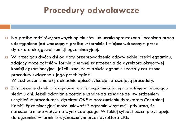 Procedury odwoławcze