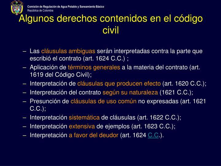 Algunos derechos contenidos en el código civil