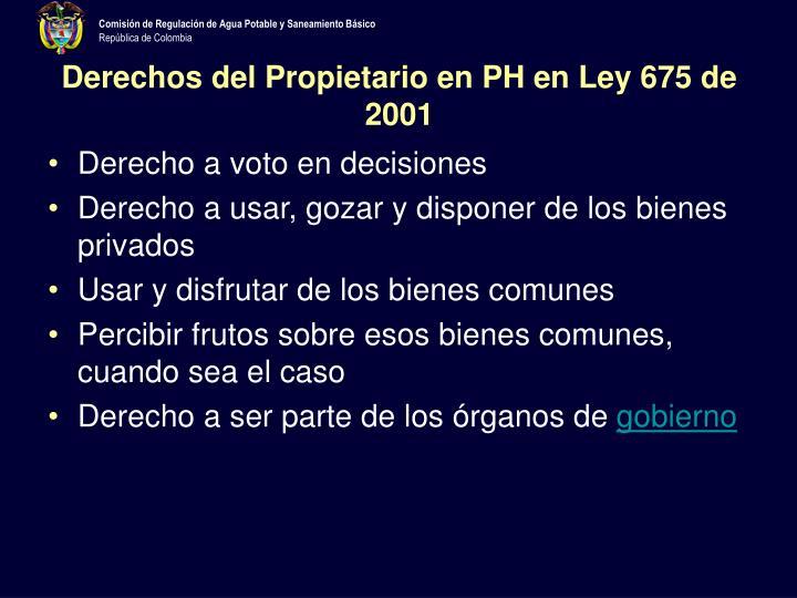 Derechos del Propietario en PH en Ley 675 de 2001