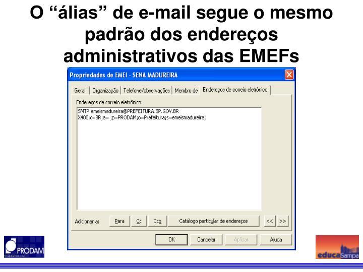 """O """"álias"""" de e-mail segue o mesmo padrão dos endereços administrativos das EMEFs"""