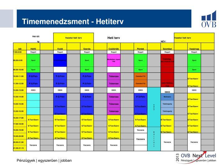 Timemenedzsment - Hetiterv