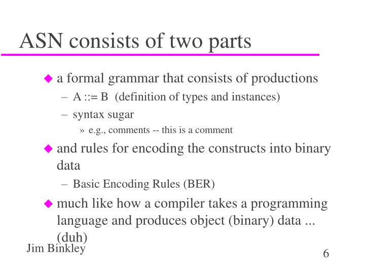 ASN consists of two parts