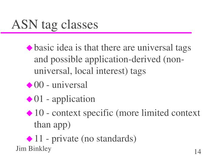 ASN tag classes