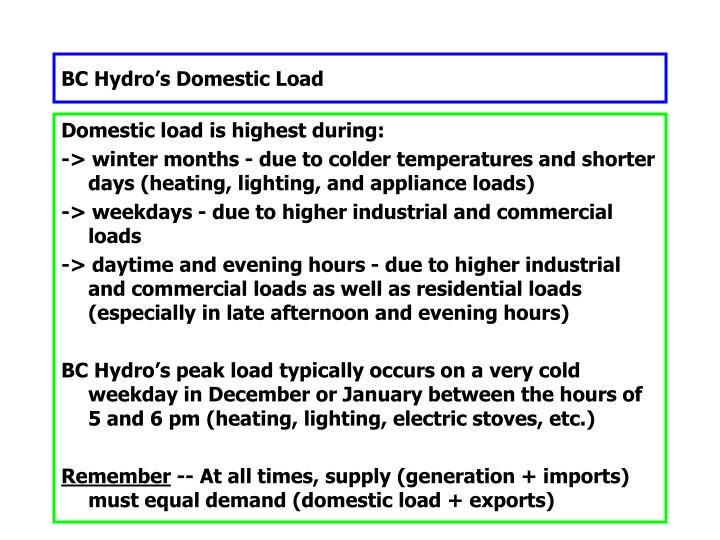 BC Hydro's Domestic Load
