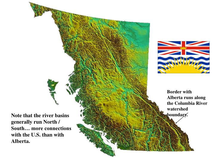 Border with Alberta runs along the Columbia River watershed boundary.