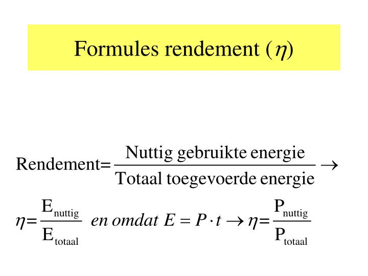 Formules rendement (