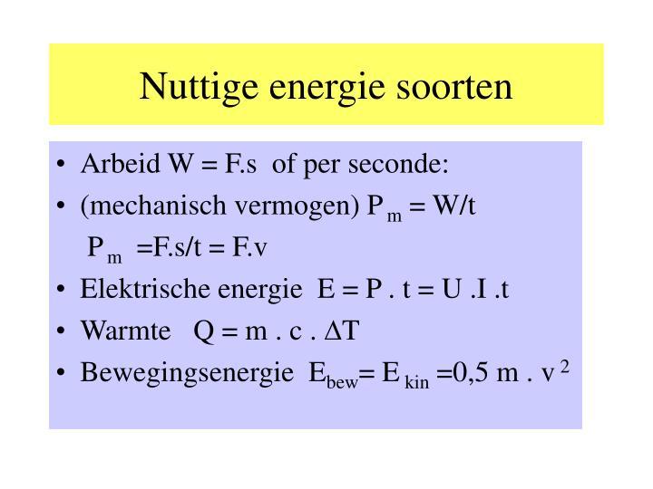 Nuttige energie soorten