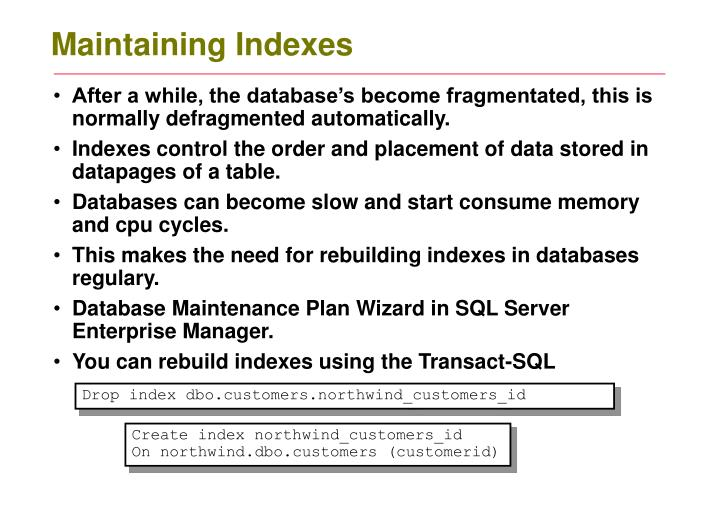 Maintaining indexes