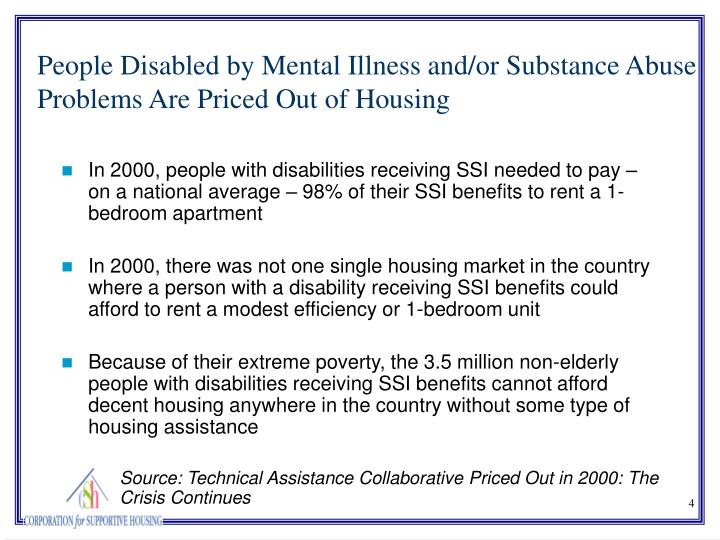In 2000, people with disabilities receiving SSI needed to pay – on a national average – 98% of their SSI benefits to rent a 1-bedroom apartment