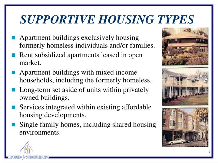 Apartment buildings exclusively housing formerly homeless individuals and/or families.