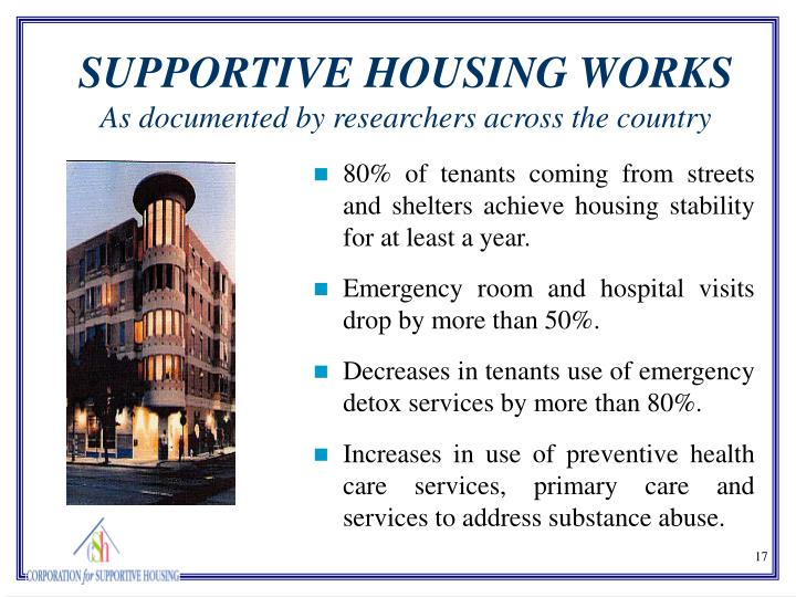 80% of tenants coming from streets and shelters achieve housing stability for at least a year.