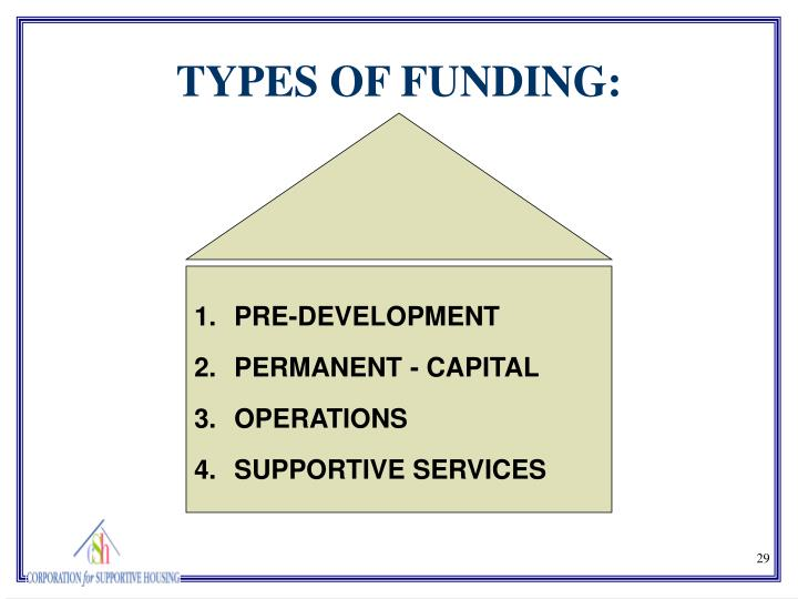 TYPES OF FUNDING: