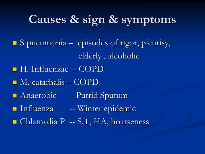Causes & sign & symptoms
