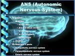 ans autonomic nervous system