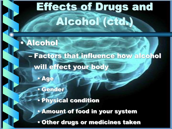Effects of Drugs and  Alcohol (ctd.)