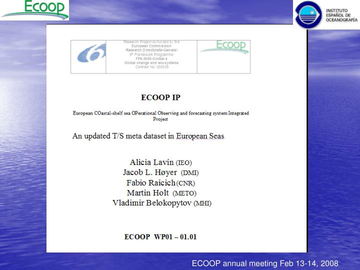 ECOOP annual meeting Feb 13-14, 2008