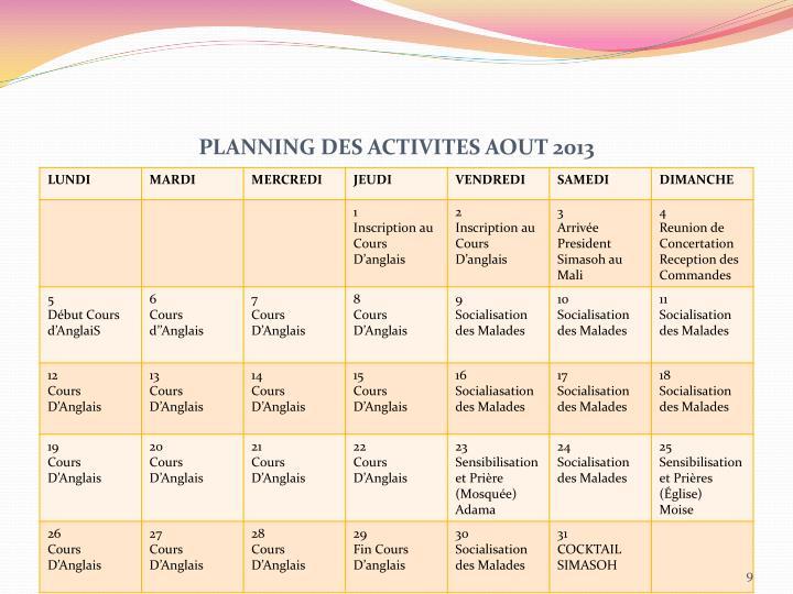 PLANNING DES ACTIVITES AOUT 2013