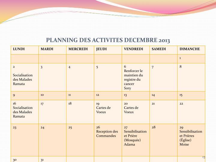 PLANNING DES ACTIVITES DECEMBRE 2013