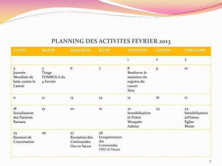 PLANNING DES ACTIVITES FEVRIER 2013