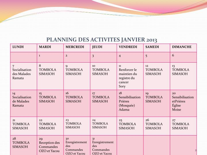 PLANNING DES ACTIVITES JANVIER 2013