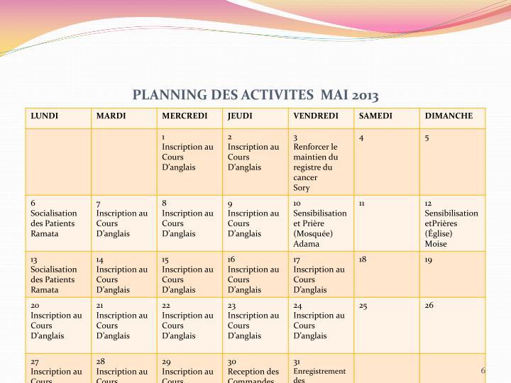 PLANNING DES ACTIVITES  MAI 2013