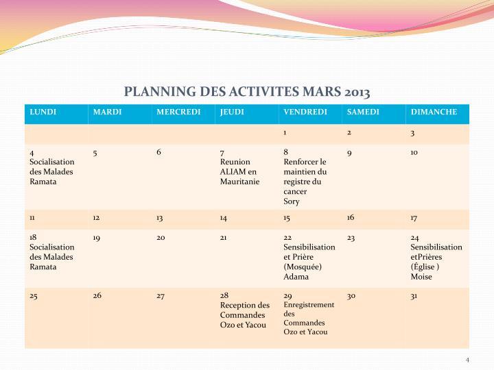 PLANNING DES ACTIVITES MARS 2013