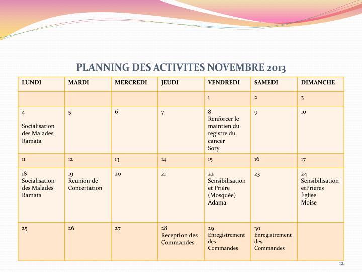 PLANNING DES ACTIVITES NOVEMBRE 2013
