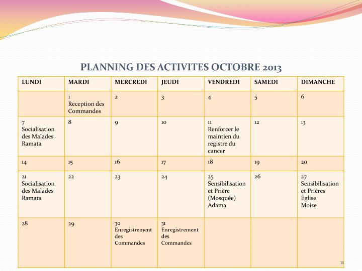PLANNING DES ACTIVITES OCTOBRE 2013