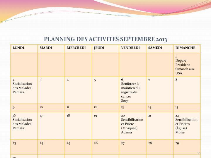 PLANNING DES ACTIVITES SEPTEMBRE 2013
