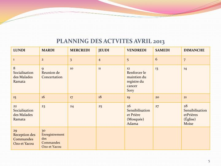 PLANNING DES ACTVITES AVRIL 2013