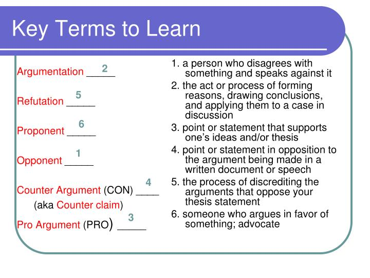 Key terms to learn