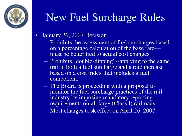 New Fuel Surcharge Rules