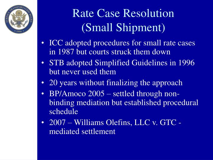 Rate Case Resolution