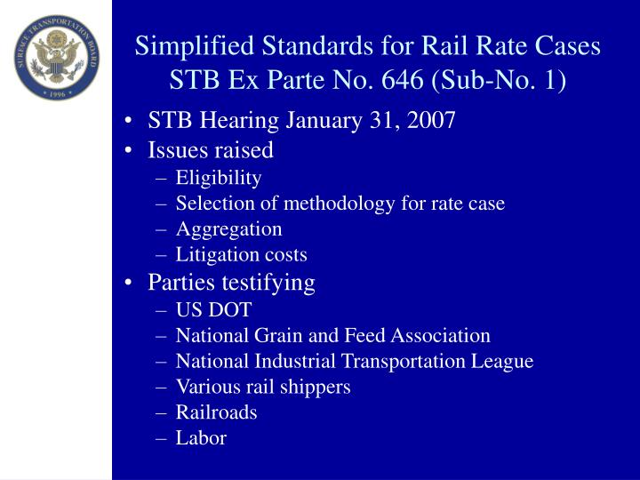 Simplified Standards for Rail Rate Cases