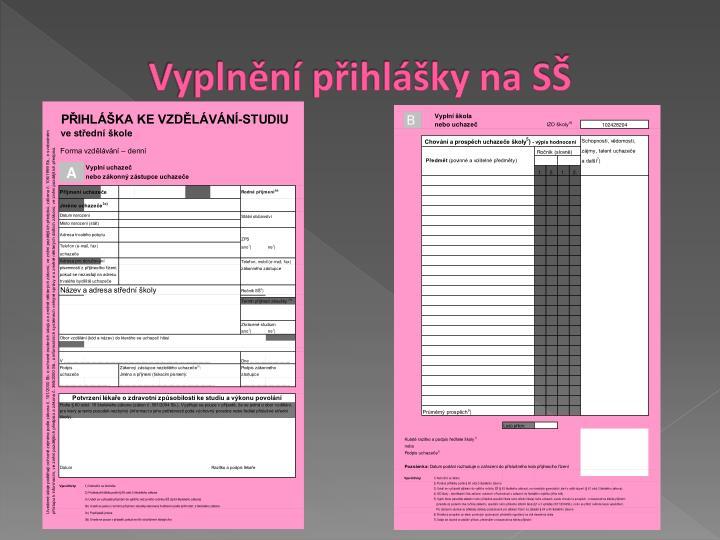 Vyplnění přihlášky na SŠ