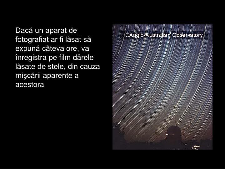 Dacă un aparat de fotografiat ar fi lăsat să expună câteva ore, va înregistra pe film dârele lăsate de stele, din cauza mişcării aparente a acestora