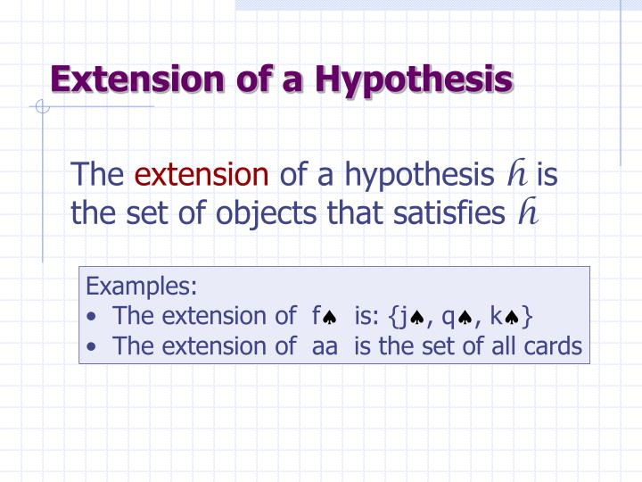 Extension of a Hypothesis